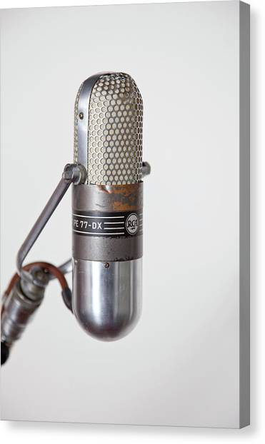 Close-up Vintage Microphone On Stand Canvas Print