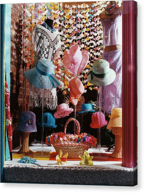 Clothing Store Canvas Print - Clothing Store Window Display by Silvia Otte