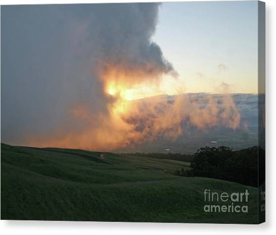 Canvas Print featuring the photograph Cloud Bank And Sunset by PJ Boylan