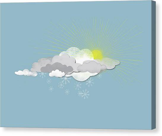 Clouds, Sun And Snowflakes Canvas Print by Fstop Images - Jutta Kuss
