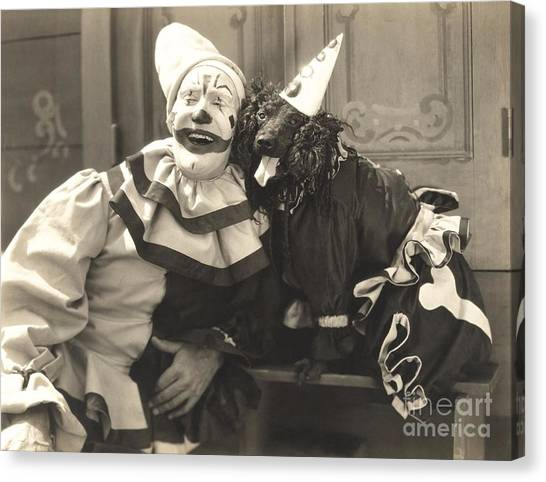 Clown Art Canvas Print - Clown Posing With Dog Dressed In Clown by Everett Collection