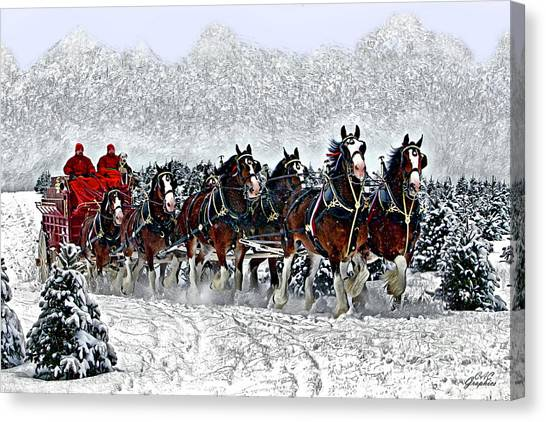 Clydesdales Hitch In Snow Canvas Print