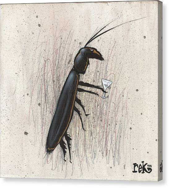Cockroach With Martini Canvas Print