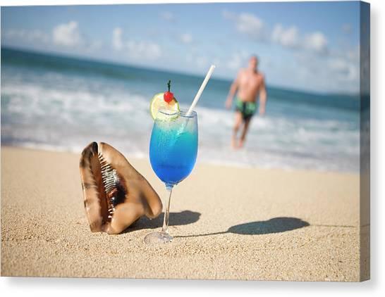 Cocktail And Shell On Beach Near Maca Canvas Print