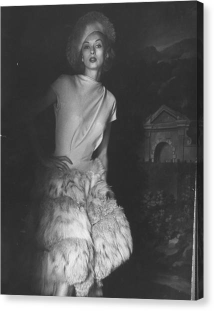 Cocktail Dress With Fur Skirt And Matchi Canvas Print
