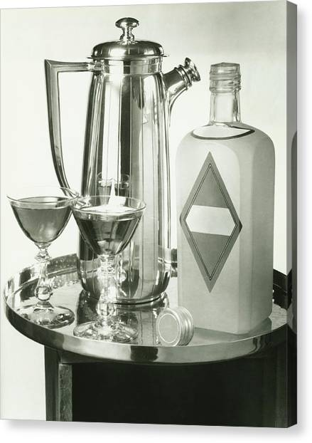 Cocktail Shaker, Two Glasses And Bottle Canvas Print