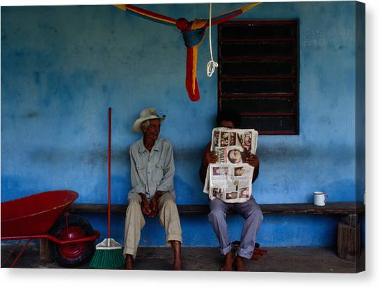 Coconut Farmers Sitting On Porch In Canvas Print