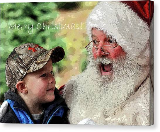 Canvas Print featuring the photograph Cody Santa Greeting by Jerry Sodorff