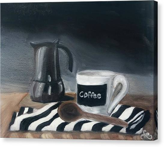 Canvas Print featuring the painting Coffee Time by Fe Jones
