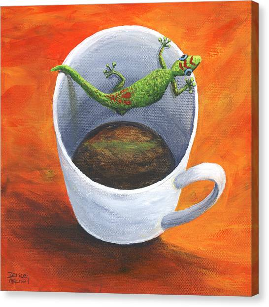 Canvas Print featuring the painting Coffee With A Friend by Darice Machel McGuire