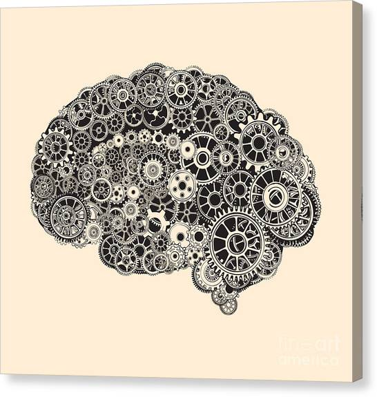 Medical Canvas Print - Cogs In The Shape Of A Human Brain by Ryger