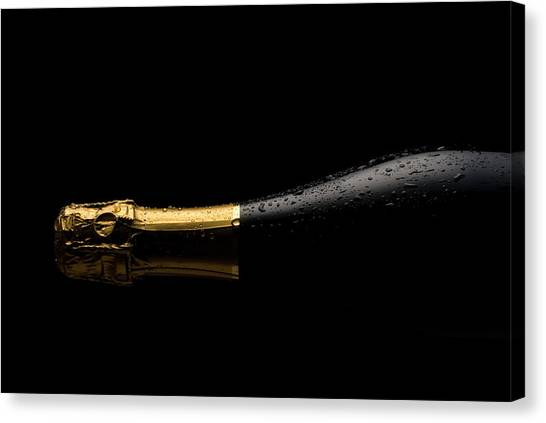 Cold Champagne Bottle Canvas Print by P1images