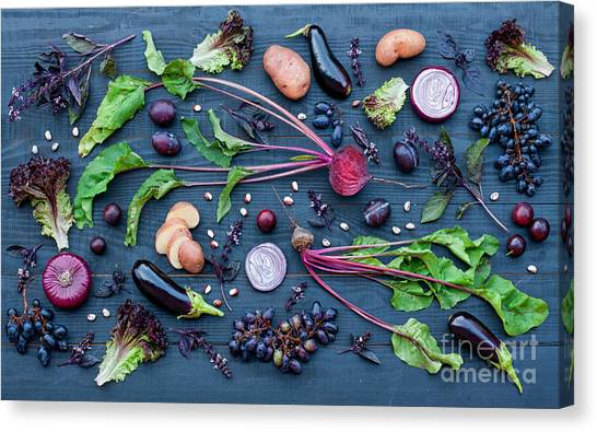 Grey Background Canvas Print - Collection Of Fresh Purple Fruit And by Kateryna Sednieva