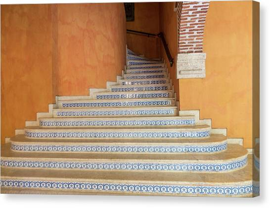Canvas Print featuring the photograph Colonial Stairs by Juan Contreras