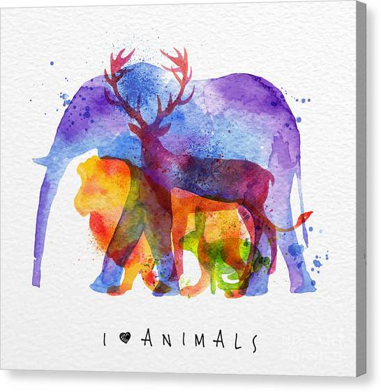 Texture Canvas Print - Color Animals ,elephant, Deer, Lion by Anna42f