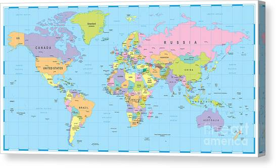 Purple Canvas Print - Colored World Map - Borders, Countries by Dikobraziy