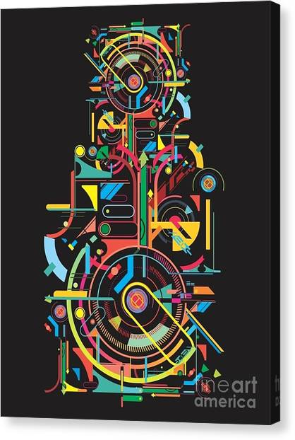 Form Canvas Print - Colorful Abstract Tech Shapes On Black by Gudron