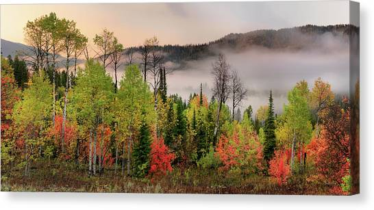 Colorful Autumn Morning Canvas Print by Leland D Howard