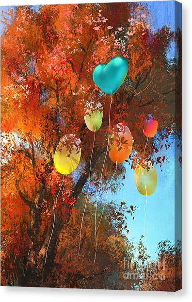 Acrylic Canvas Print - Colorful Balloons On Autumn Forest by Tithi Luadthong