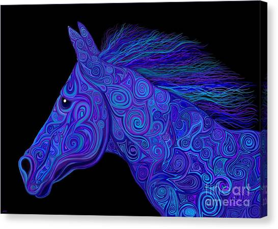 Canvas Print - Colorful Blue Stallion by Nick Gustafson