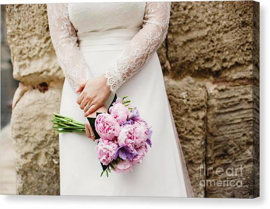 Colorful Bridal Bouquets With Flowers Canvas Print