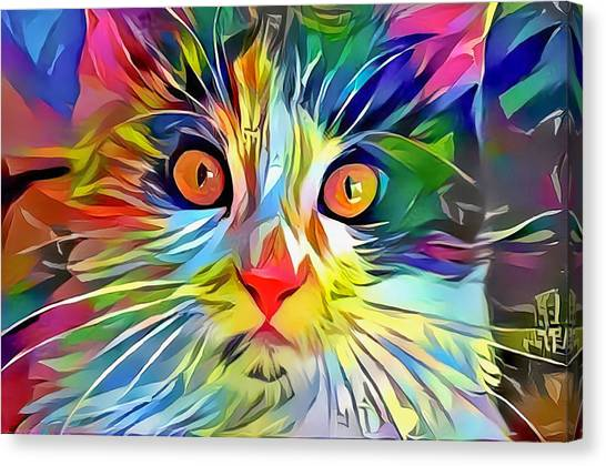 Colorful Calico Cat Canvas Print