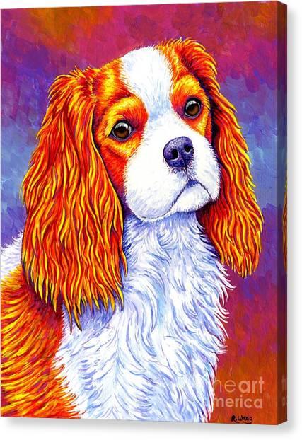 Colorful Cavalier King Charles Spaniel Dog Canvas Print
