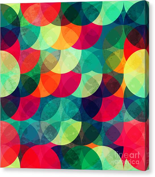 Decoration Canvas Print - Colorful Circle Seamless Pattern With by Gudinny