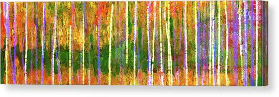 Canvas Print featuring the digital art Colorful Forest Abstract by Menega Sabidussi