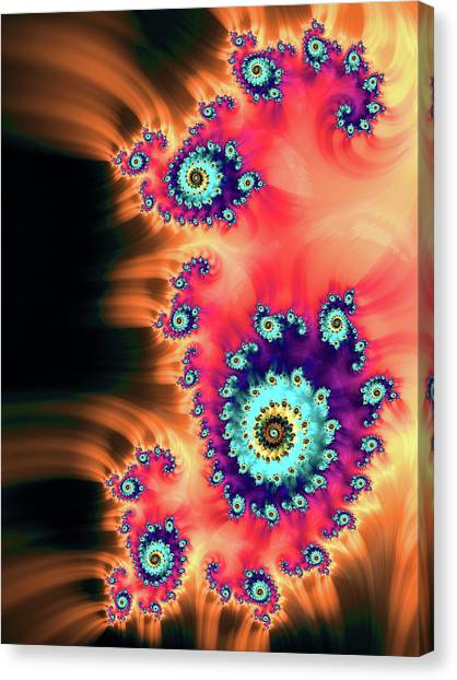 Canvas Print featuring the digital art Colorful Fractal Art Orange Red Turquoise by Matthias Hauser
