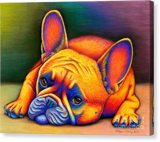Colorful French Bulldog Canvas Print