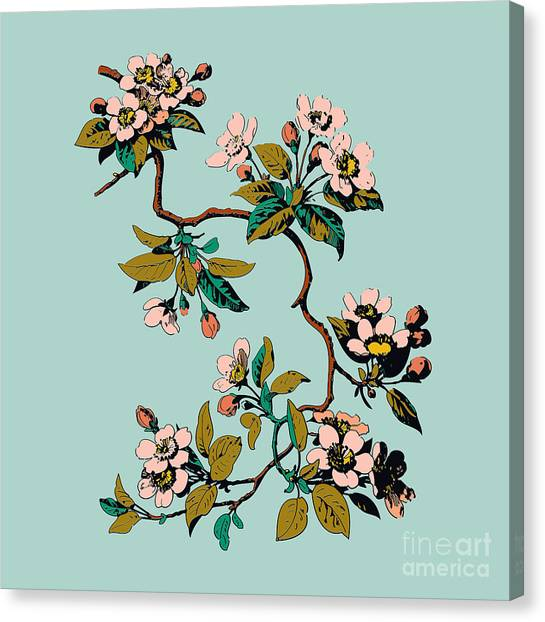 Japanese Gardens Canvas Print - Colorful Hand Drawn Sakura Branch by Cosveta
