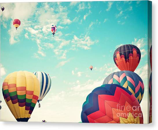 Basket Canvas Print - Colorful Hot Air Balloons by Andrekart Photography