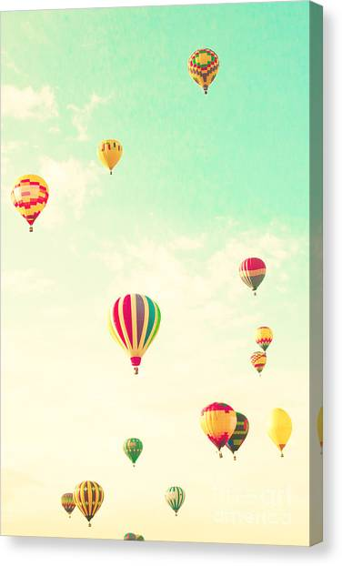 Basket Canvas Print - Colorful Hot Air Balloons In A Green by Andrekart Photography