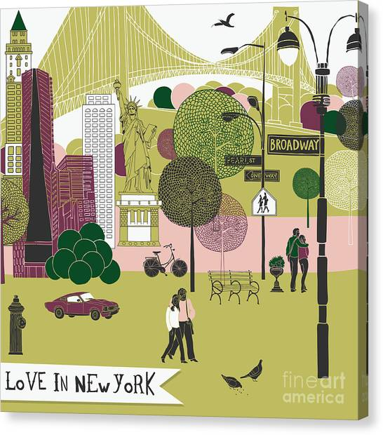 Colorful Illustration Of New York Canvas Print by Lavandaart