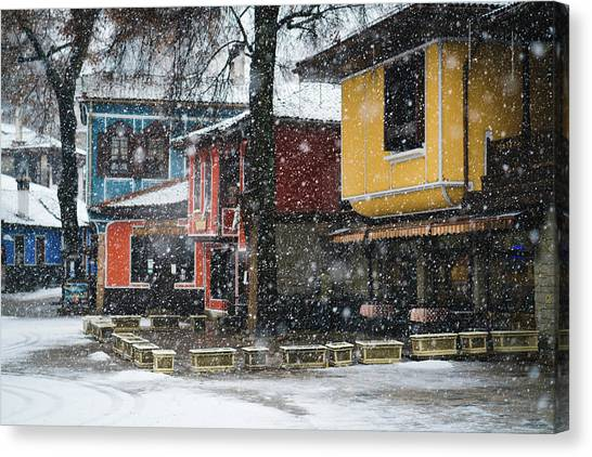Canvas Print featuring the photograph Colorful Koprivshtica Houses In Winter by Milan Ljubisavljevic