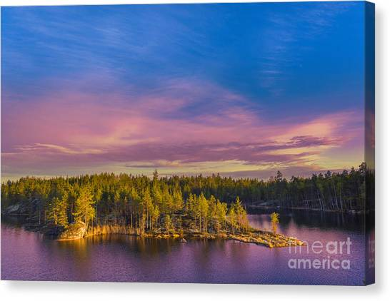 North Shore Canvas Print - Colorful Landscape With Pines Trees by Sergebertasiusphotography