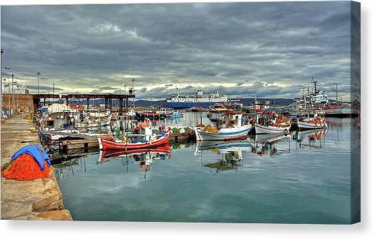 Colorful Lavrium Fishing Port Canvas Print
