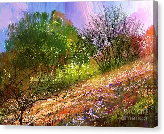 Acrylic Canvas Print - Colorful Meadow,landscape Digital by Tithi Luadthong