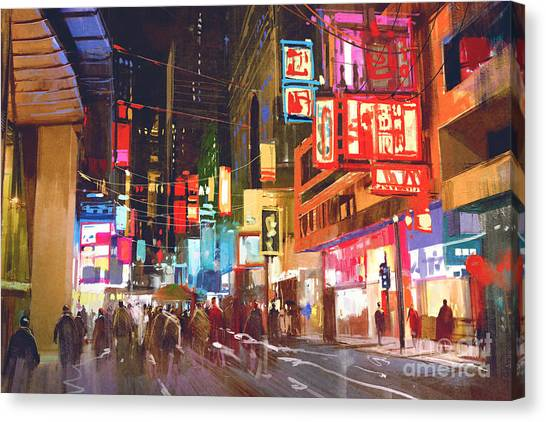 Acrylic Canvas Print - Colorful Painting Of People Walking On by Tithi Luadthong