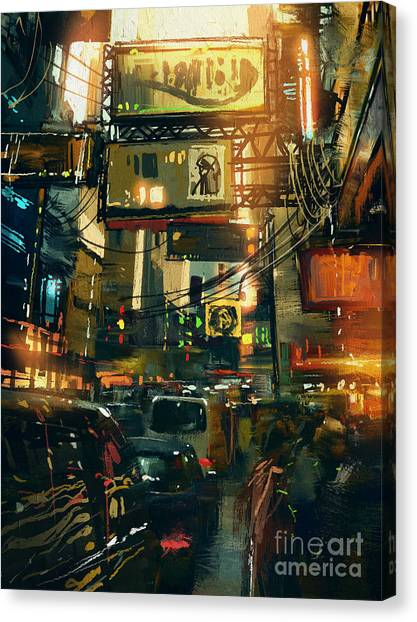Colorful Painting Of Shopping Street In Canvas Print by Tithi Luadthong