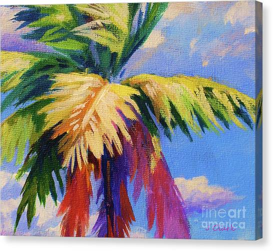 Palm Trees Canvas Print - Colorful Palm by John Clark
