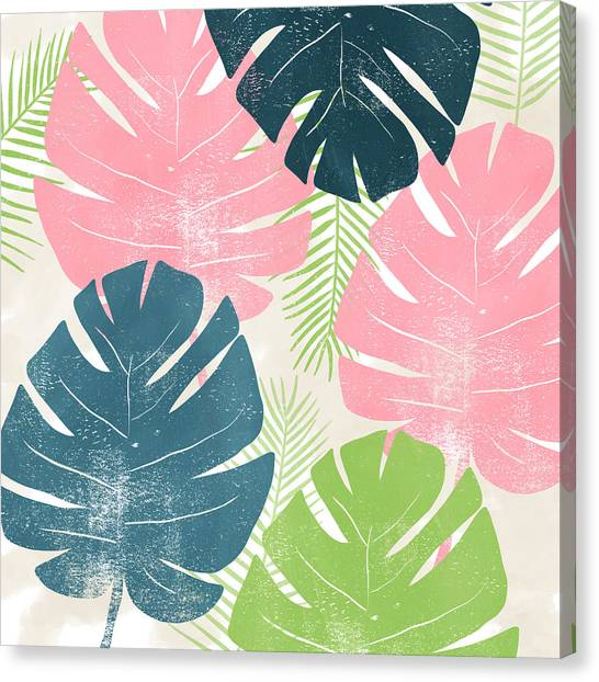 Tropical Plant Canvas Print - Colorful Palm Leaves 1- Art By Linda Woods by Linda Woods