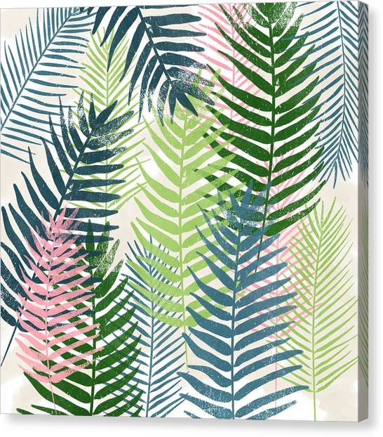 Tropical Plant Canvas Print - Colorful Palm Leaves 2- Art By Linda Woods by Linda Woods