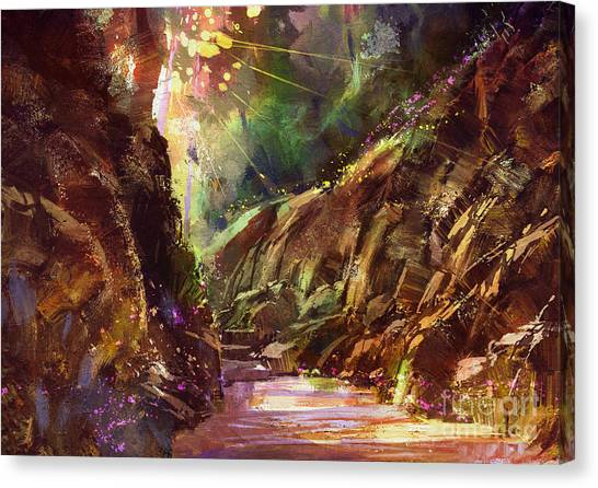 Acrylic Canvas Print - Colorful Path In The Mountain,digital by Tithi Luadthong