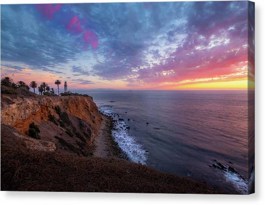 Colorful Sky After Sunset At Point Vicente Lighthouse Canvas Print