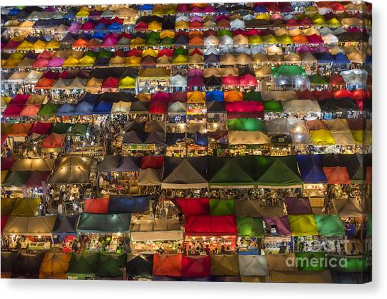 Colorful Street Market From Above Canvas Print by Duke.of.arch