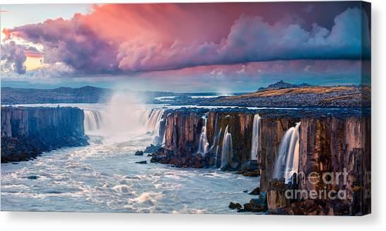 Stunning Canvas Print - Colorful Summer Landscape On Jokulsa A by Andrew Mayovskyy