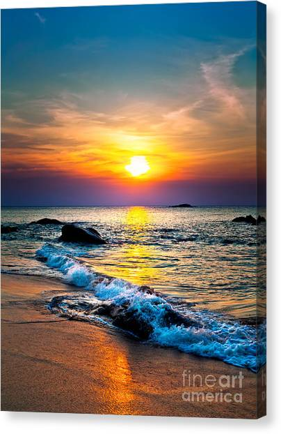 Sandy Beach Canvas Print - Colorful Sunset Over The Sea by Muzhik