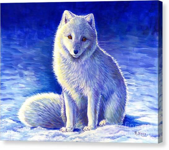 Colorful Winter Arctic Fox Canvas Print